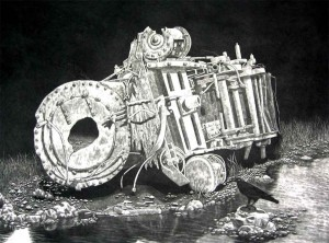 Locomotive & Raven Mezzotint by Chris Nowicki