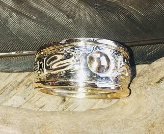 Lovebirds 3 colored 14 kt Gold Wedding Ring