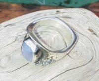 Side shank view of Sterling Silver Ellensburg Blue Agate Ring