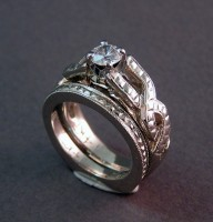 Photo of Abbie's White Gold Celtic Wedding Ring Set with 1/2 Carat Diamond