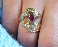 Picture of A Custom 14 kt Yellow Lovebirds Ring with Ruby
