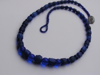 Graduated strand of Blue Russian Trade Beads