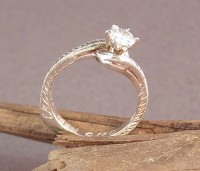Side view of Owen Walker Hand Engraved engagement ring