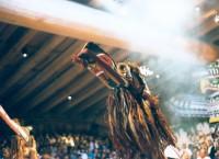 Kwak waka' wak carved wood Crooked Beak mask worn by dancer at Potlatch