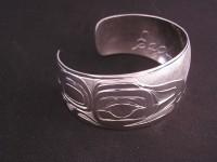 Diving Eagle bracelet hand carved in sterling silver by Owen Walker