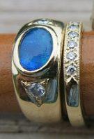Opal and Diamonds Custom Wedding Rings