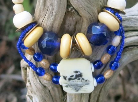 Scrimshaw with Trade Beads