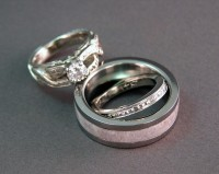 Photo of Joe and Abbie's White Gold and Antler Wedding Rings