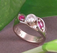 Rubys and melee diamonds in Custom Engagement Ring