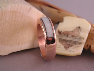 Custom Men's Red Gold Wedding Ring with Fossil Walrus Ivory !nlay
