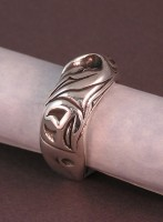 Sterling Silver Salish Salmon Ring head view