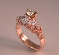 Diamonds and Red Gold Mother's Ring