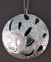 Hand carved sterling silver Octopus pendant #409