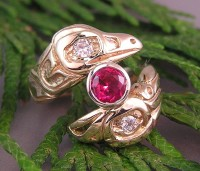 Custom 14kt yellow Lovebirds Ring with Ruby