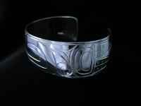 Loon hand carved sterling silver bracelet Design #34