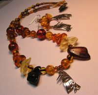 """Raven Steals the Sun"" Sterling Silver Raven, Amber Beads, chunks and beads . TB473"