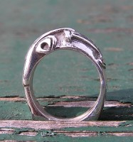 Raven and Thor's Hammer Sterling Silver Ring