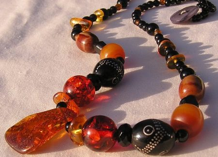 TB522 Amber, Jet, Copal and Egyptian Prayer Beads