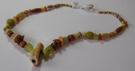 Yellow toned Trade Beads witth Bone Toggle Artifact