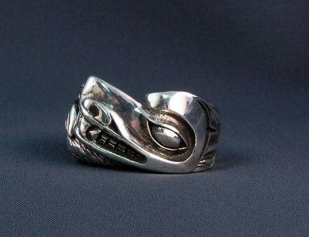 Photo of Walker Goldsmiths Lost Wax Cast Sterling Wolf Ring #315 front on view