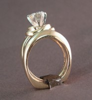"""Side view of """"Tie the Knot"""" Custom Wedding Rings"""
