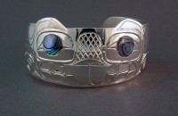 Photo of Hand Carved Sterling Silver Beaver Bracelet design #2 by Owen Walker