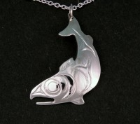 Photo of Walker Goldsmiths Hand Carved Sterling Salish Salmon Pendant #401