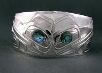 Photo of Walker Goldsmiths Hand Carved Sterling Bracelet Transforming Raven D11 by Owen Walker