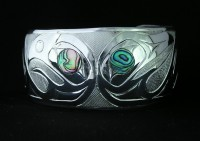 Photo of Hand Carved Sterling Silver Lovebirds Bracelet D#3 with Abalone Inlaid Eyes by Owen Walker