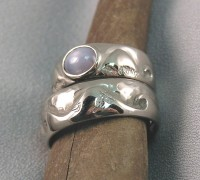 Photo of Walker Goldsmiths Surfer Rings with a Star Sappire