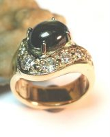 Black Star Sapphire and diamonds Wedding Ring Replacement
