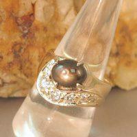 Diamonds and Black Star Sapphire wedding Ring