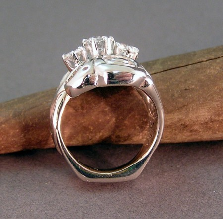 Photo of 14kt White gold Lovebirds ring with squared bottom shank